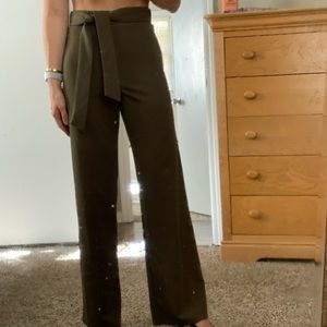 High waisted olive green dress pant